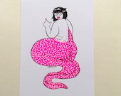 Hipster Pin Up Girl Mermaid - Babs Neon Pink Risograph Print Riso