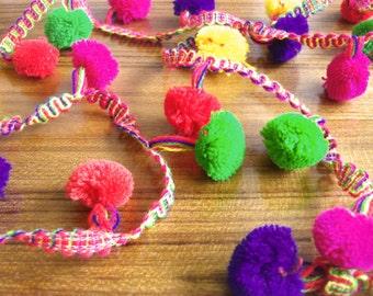 bright pom pom lace  - multicolored pompom trim - 5 yards - 0.75 wide lace163
