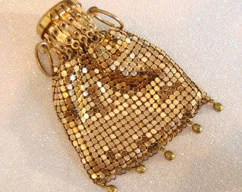 Gold vintage accordion brass gated coin bag purse / 1920s vintage purse clutch mesh