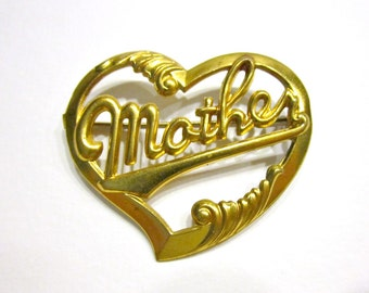 Vintage C Clasp Antique Heart Brooch Gold Mother Pin Gift for Mom Antique Jewelry Gift Idea