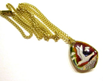 """Vintage Reverse Etched Glass Seagull Pendant Flying Irridescent Rainbow Signed 24"""" Long Necklace Beach Jewelry Gift for Her"""