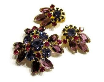 Purple Rhinestone Vintage Brooch Pendant Earrings Vintage Jewelry Set Purple Blue Pin Clip Earrings