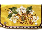 Mom Gift- Mothers Day Gift- Hand Painted Purse- Yellow Burlap Purse- Yellow Clutch- Spring Purse- Card Wallet- Floral Wallet- Fabric Wallet