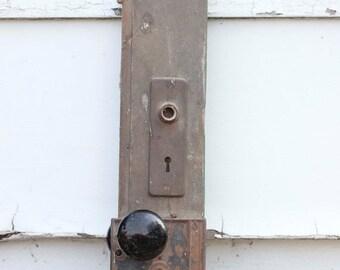 Antique Black Porcelain Door Knob on Old Door with Metal Skeleton Lock, Rustic Home Decor, Wall Art, Primitive Art, Reclaimed Upcycled Art,