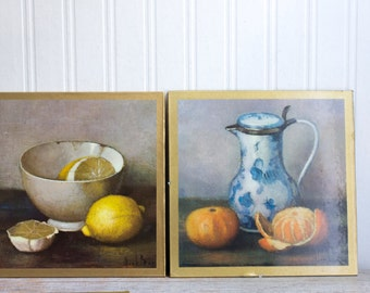 Vintage Henk Bos Fruit Still Life Prints, Set of 4 Kitchen Wall Prints, Teapot Tea Cup Decor, Lemons Apples Oranges, Retro Kitchen Art