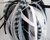 Cyberlox White and Black Medium length Pigtail Falls Cybergoth Cyberpunk Neon Cyber Goth Punk Dreads Synth Wig Tie In Cyberpop