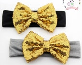 Sale Baby Kids Headband Bow Big Bow Sequin Bow Glitter Bow Cotton and Sequin Girls Hairbow Gold Grey Black Gold OMG Becky Bow