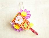 January purple aster and hagoita mini maiko silk kanzashi hair fork