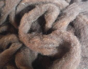 Dark Chocolate Romney Lambswool Roving-Maine Raised, 4 oz