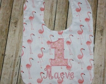 1st Birthday Baby Bib, Flamingo First Birthday Bib, Birthday Bib, First Zoo Trip Baby Bib, Birthday Bib, Smash Cake Bib