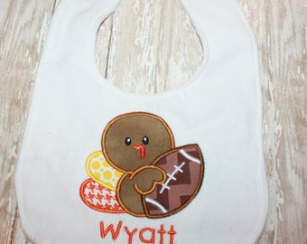 Football Turkey Bib-Turkey Bib- Thanksgiving Bib- Personalized Bib- Boy or Girl- Toddler- Baby- Football Turkey Shirt-Turkey Shirt