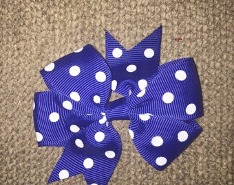 Navy blue polkadot pinwheel piggy hairbows (set of 2)