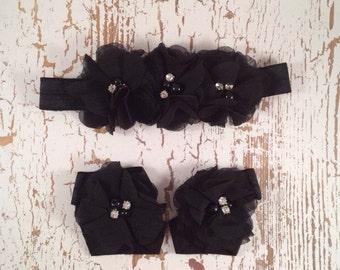 Infant Headband and Barefoot Sandals Black