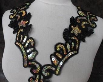 Cute     applique  with  sequins   black color 1 pieces listing