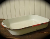Old White Enamelware with Red Trim Smaller Baking Pan Rustic Farmhouse Decor Photo Prop