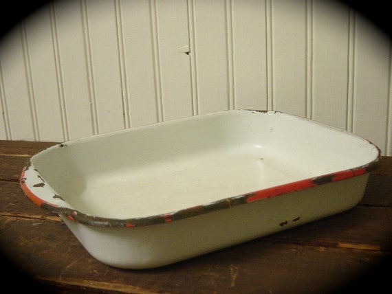 Old White Enamelware With Red Trim Smaller Baking Pan Rustic