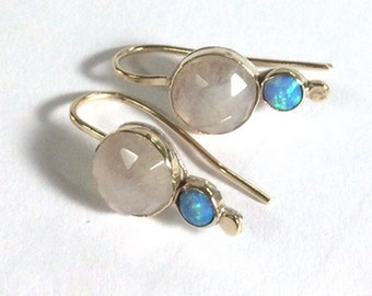 Opal earrings, Solid Gold Earrings ,Moonstone earrings,Gift for her, Dangel ,Anniversary gift, Engagement earrings, Gift idea for women