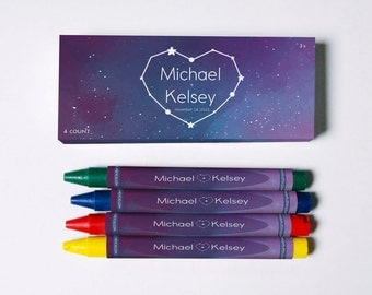 Galactic Lovers Personalized Wedding Crayons (Great Favors to keep all the littles busy)