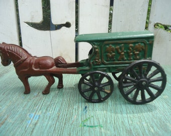 Vintage Cast Iron Horse and Mail Buggy