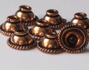 Antiqued Copper Bead Cap  9 x 5 mm  (Qty 10)    75-5-114