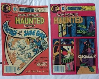 Charlton comics HAUNTED #54, #51 Revenge Slave Ghost, Haunted Library, fantasy Bronze Age, Ditko art March 1981, October 1980