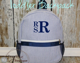 Toddler Boy Seersucker Backpack - Personalized School Bag, Book Bag, Mini Backpack