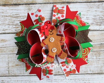 Christmas Bow Gingerbread Man Bow Felt Bow Girl Gingerbread Holiday Bows Red Bow Boutique Bows Stacked Bow Baby Girls Hair Accessories