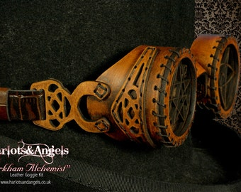 Leather Steampunk Goggles. Hand stitched Hand made. Cthulhu Lovecraft ldersign