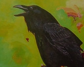 Corvid Calling Raven Note Card