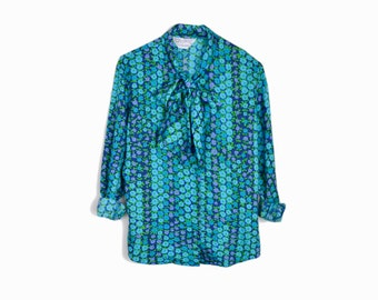 Vintage 70s Flower Dot Tie Neck Blouse in Bright Aqua Blue