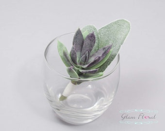 Succulent Boutonniere.  Wedding Groom's Flower- Prom Bout- Real Touch Boutonniere- pin on flower button hole. green, purple, fuzzy