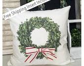 Boxwood Wreath Pillow | Boxwood Home | Rustic Decor | Rustic Christmas | Throw Pillows