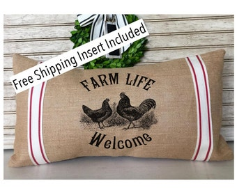 Farmhouse Decor - Rustic Grain Sack - Farm Life - Welcome - Burlap Pillow * FREE SHIPPING *