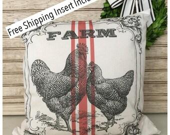 Farmhouse Decor - Rustic Grain Sack Farm Rooster and Chicken Pillow