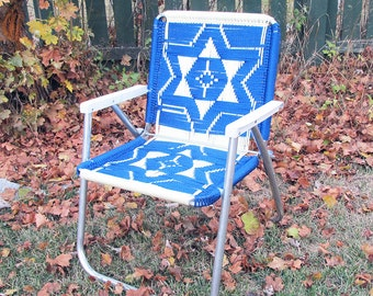 "Blue & White Macramé Lawn Chair ""Ready for Relaxing in Style"""