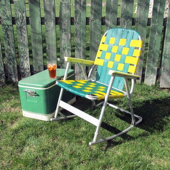mid century rocking webbed lawn chair green by