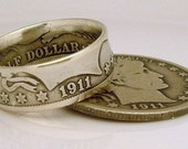 1911 Barber Half Dollar Coin Ring (90% Silver) (Available in sizes 8.5 through 12)