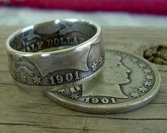 1901 Barber Half Dollar Coin Ring (90% Silver) (Available in sizes 8.5 through 12)