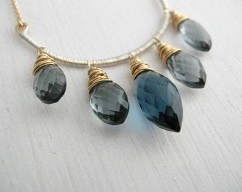 Navy Quartz 5 Stone Necklace