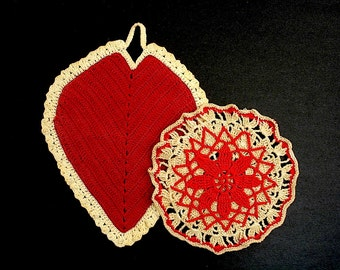 Vintage Red and White Crochet Heart and Flower Potholders