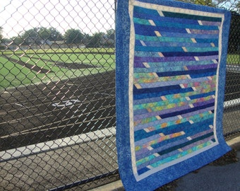 Blue Aqua Batik Quilt Jelly Roll Race design Lap Twin
