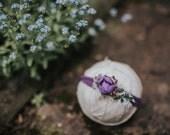 Purple Rosebud Stretch  Headband