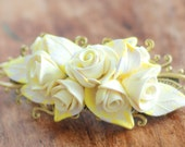 Flower Hair barrette, Rose hair clip, Prom hair accessories, Wedding bridal hair barrette, bridesmades gift - white and yellow Lemon rose
