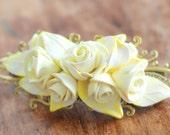 Flower Hair barrette, Rose hair clip, Prom hair accessories, Wedding hair barrette, bridesmades gift - white and yellow Lemon rose