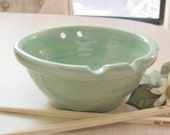 Rice Bowl, Ceramic Pottery, Noodle Bowl with Chop Sticks, Handmade Stoneware Pottery Mint Turquoise