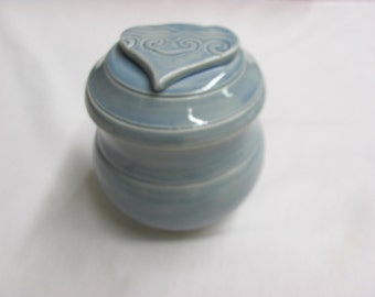 Pet Urn Ceramic Lidded Jar 14 Ounce Pottery Ceramic Urn Handmade Stoneware