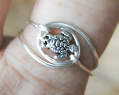 Wire Wrapped Tiny Sea Turtle Ring Non Tarnish Silver Plated