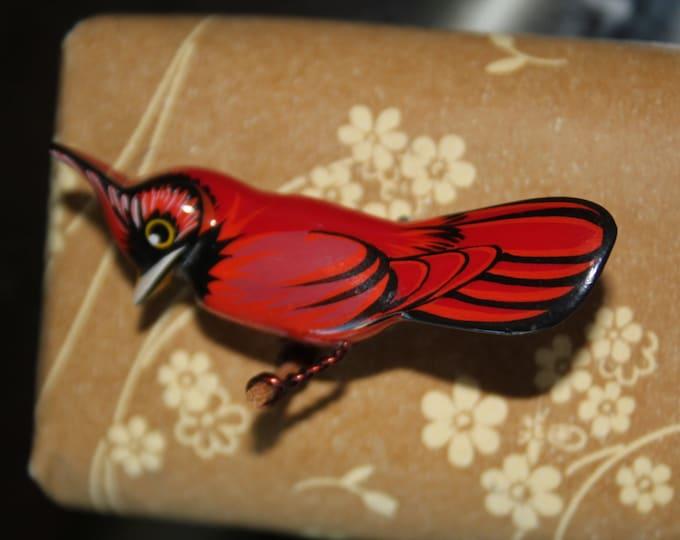 Tiny Takahashi Cardinal Pin - Vintage 1970 Reproduction