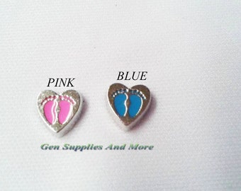 Pink Baby Feet charm, Blue Baby Feet Charm, Baby Charm,  Floating Charms For Floating Lockets, Personalized Floating Memory Locket