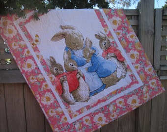 Baby Girl Quilt, Peter Rabbit Quilt, Cottage Chic Quilt, Beatrix Potter Nursery